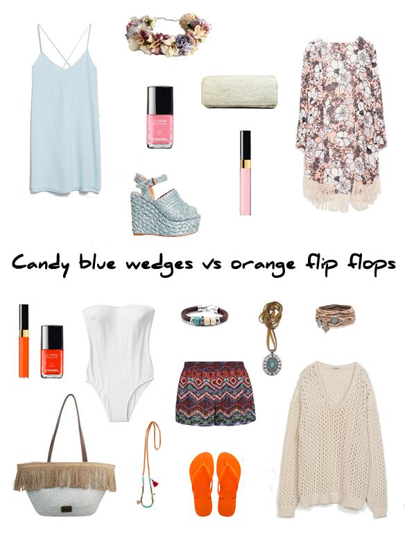 15colgadasdeunapercha_finde_looks_candy_blue_wedges_saturday_vs_orange_flip_flops_sunday_portada
