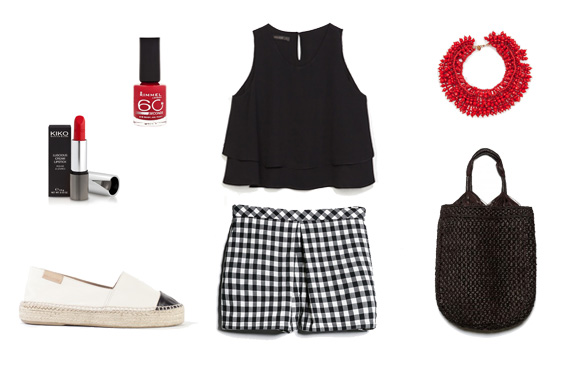 15colgadasdeunapercha_finde_looks_red_stripes_saturday_vs_b&w_black_and_white_vichy_sunday_2
