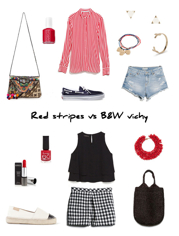 15colgadasdeunapercha_finde_looks_red_stripes_saturday_vs_b&w_black_and_white_vichy_sunday_portada