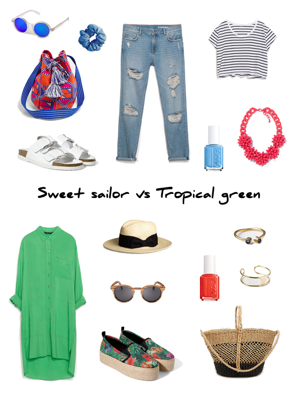 15colgadasdeunapercha_finde_looks_sweet_sailor_saturday_vs_tropical_green_sunday_portada
