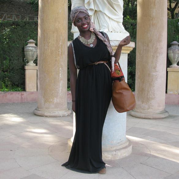 15colgadasdeunapercha_streethunted__maxi_black_dress_ethnic_turban_necklace_etnico_collar_turbante_bailarinas_ballerinas_1