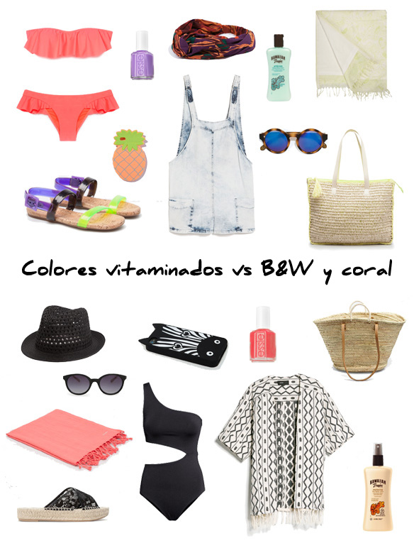 15colgadasdeunapercha_finde_looks_colores_vitaminados_sabado_vitamin_colored_saturday_vs_b&w_and_coralsunday_blanco_y_negro_y_coral_domingo_portada