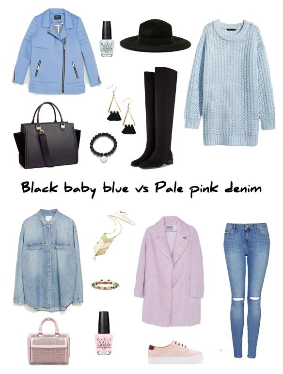 15colgadasdeunapercha_finde_looks_black_baby_blue_saturday_sabado_negro_azul_bebe_vs_pale_pink_denim_sunday_domingo_rosa_palo_tejano_portada
