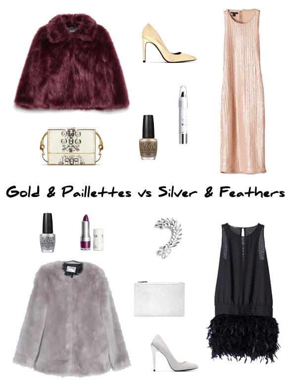 15colgadasdeunapercha_finde_looks_gold_paillettes_saturday_sabado_dorado_lentejuelas_vs_silver_feathers_sunday_domingo_plata_plumas_portada