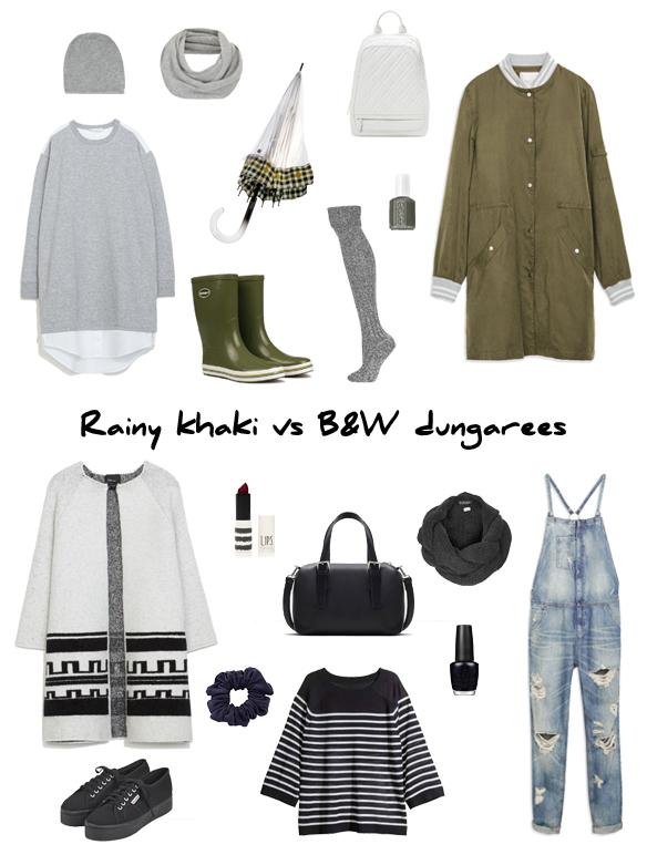 15colgadasdeunapercha_finde_looks_rainy_khaki_saturday_sabado_caqui_lluvioso_vs_B&W_dungarees_sunday_domingo_peto_B&W_portada