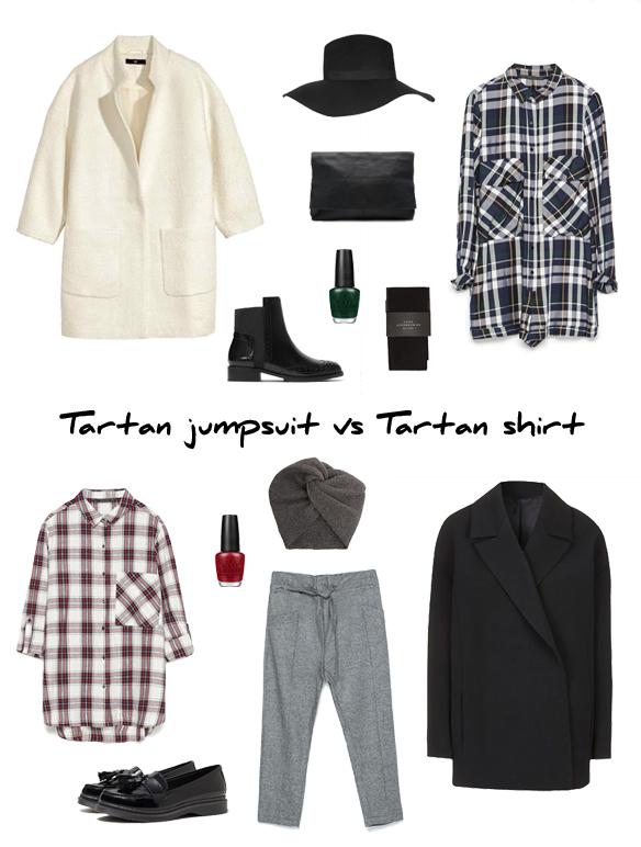 15colgadasdeunapercha_finde_looks_green_tartan_jumpsuit_saturday_sabado_mono_tartan_verde_vs_maroon_tartan_shirt_sunday_domingo_camisa_tartan_granate