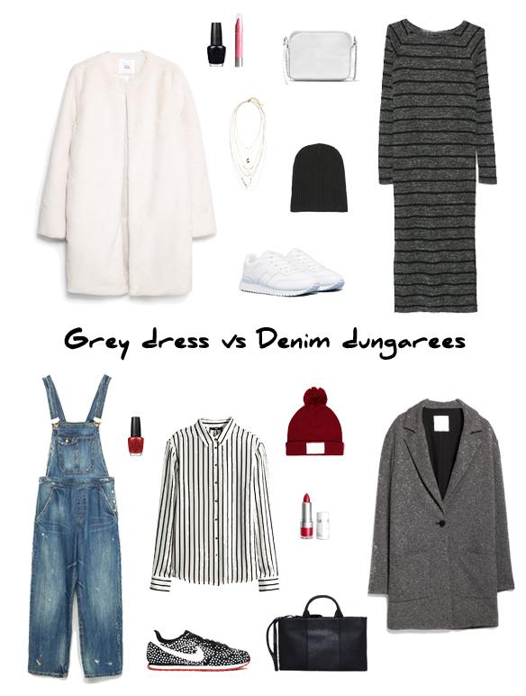 15colgadasdeunapercha_finde_looks_grey_dress_stripes_saturday_sabado_vestido_gris_rayas_vs_denim_dungarees_trainers_peto_tejano_bambas
