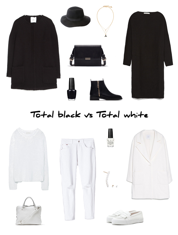 15colgadasdeunapercha_finde_looks_negro_sabado_total_black_look_saturday_vs_blanco_domingo_total_white_look_sunday_portada