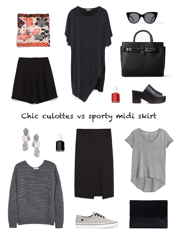 15-colgadas-de-una-percha-finde-looks-weekend-outfits-chic-culottes-bermudas-red-rojo-negro-black-sabado-saturday-sporty-midi-skirt-falda-midi-grey-gris-domingo-sunday