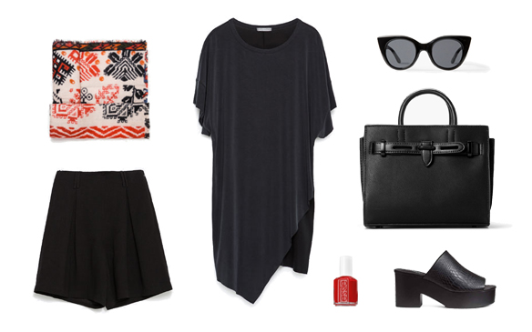 15-colgadas-de-una-percha-finde-looks-weekend-outfits-chic-culottes-bermudas-red-rojo-negro-black-sabado-saturday
