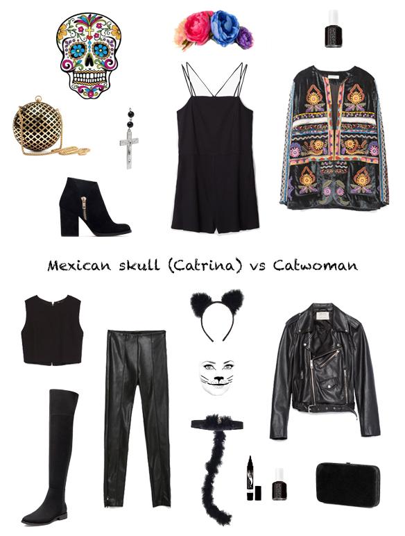 15-colgadas-de-una-percha-finde-looks-halloween-outfits-disfraz-costume-maquillaje-makeup-calavera-mexicana-catrina-mexican-skull-vs-gato-gatuno-cat-catwoman