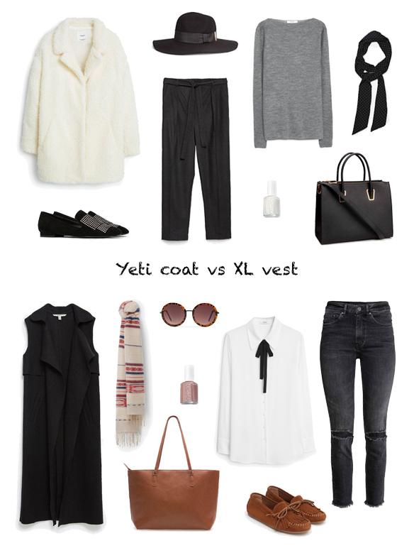 15-colgadas-de-una-percha-finde-looks-weekend-outfits-abrigo-yeti-coat-sabado-saturday-chaleco-XL-vest-domingo-sunday