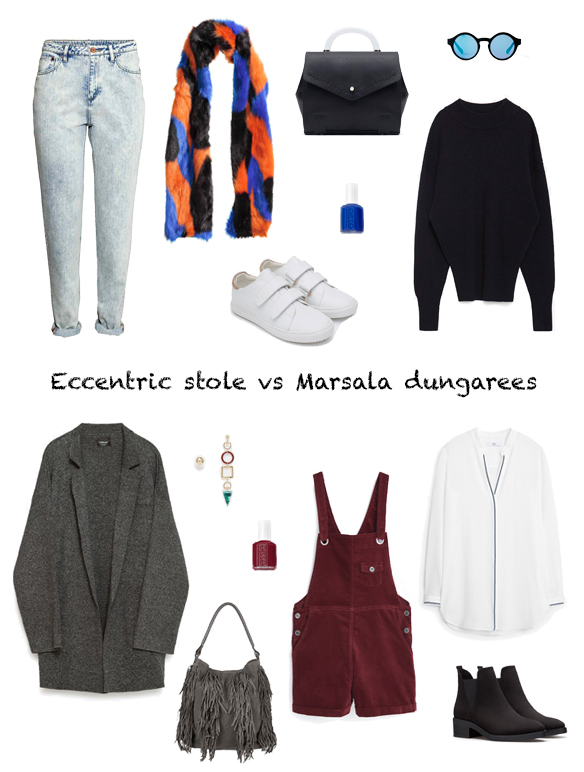 15-colgadas-de-una-percha-finde-looks-weekend-outfits-estola-excentrica-sabado-eccentric-stole-saturday-peto-marsala-domingo-sunday-marsala-dungarees