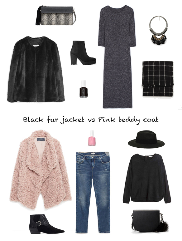 15-colgadas-de-una-percha-finde-looks-weekend-outfits-sabado-chaqueta-pelo-negra-black-fur-jacket-saturday-domingo-rosa-abrigo-oso-pink-teddy-coat-sunday