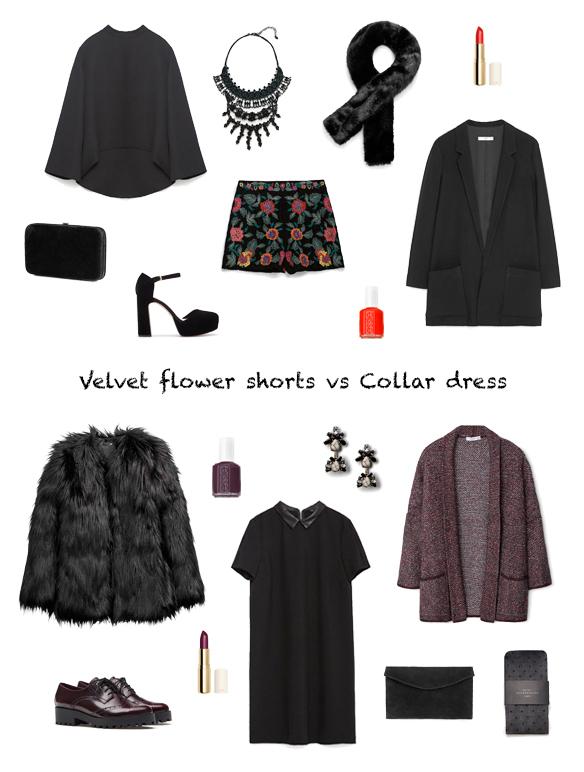 15-colgadas-de-una-percha-finde-looks-weekend-outfits-velvet-flower-shorts-terciopelo-flores-sabado-saturday-collar-dress-vestido-cuello-camisa-domingo-sunday