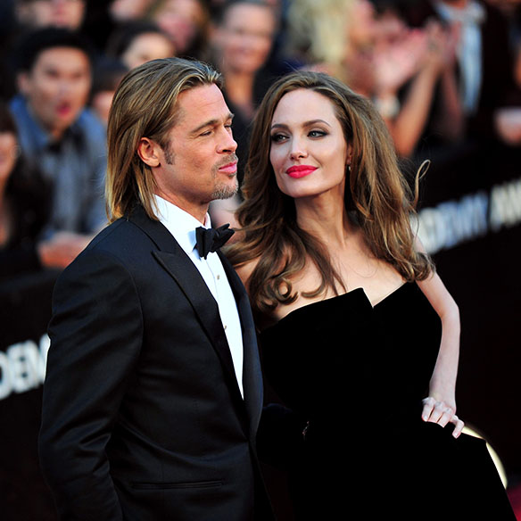 Brad Pitt and Angelina Jolie arrive on the red carpet at the 84th Academy Awards at the Hollywood and Highlands Center in the Hollywood section of Los Angeles on February 26, 2012. UPI/Kevin Dietsch / eyevine Contact eyevine for more information about using this image: T: +44 (0) 20 8709 8709 E: info@eyevine.com http://www.eyevine.com